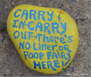 It's like they don't even know how to read small, hand lettered rocks (Photo GMG)