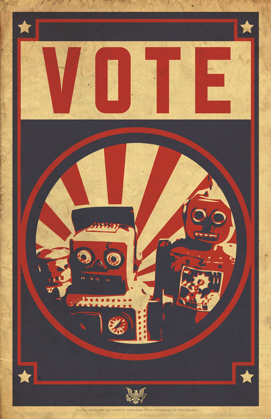 Vote, humans. Or the robots will elect an electro-president who will destroy us all.